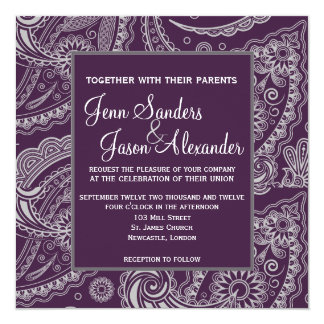 Elegant Paisley Formal Wedding Invitation