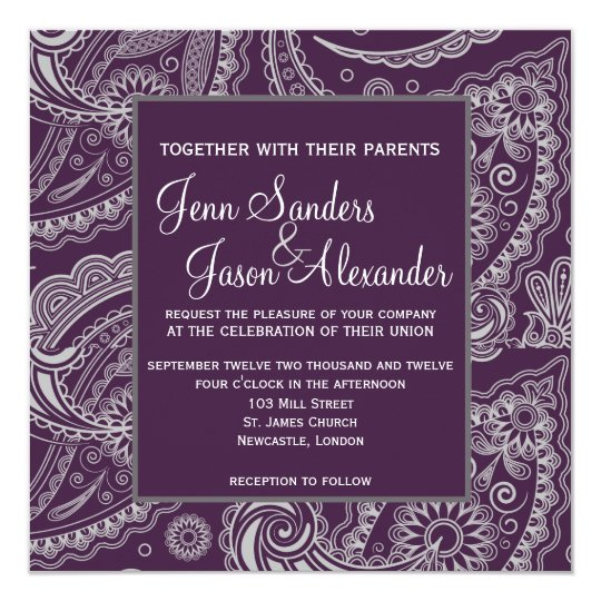 Elegant Paisley Formal Wedding Invitation