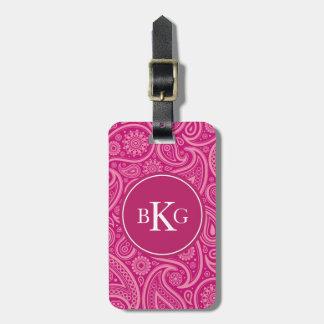 Elegant Paisley Pattern Custom Monogram Pink Luggage Tag