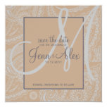 Elegant Paisley Save the Date with Monogram Personalised Announcement