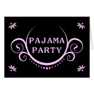 elegant pajama party invitation note card