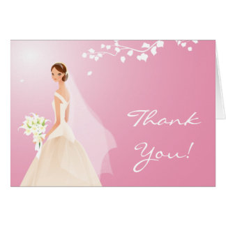 Elegant Pale Pink Bride Thank You Note Card