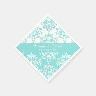 Elegant Pale Turquoise Damask Wedding Napkin Disposable Serviette