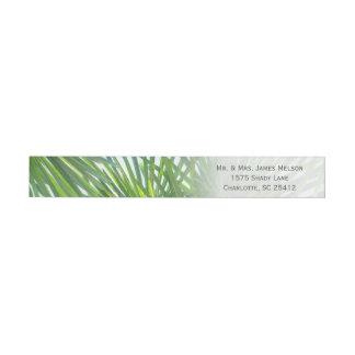 Elegant Palm Greenery Watercolor Wraparound Address Label