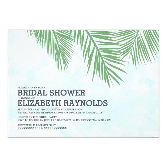 Elegant Palm Trees Bridal Shower Invitations