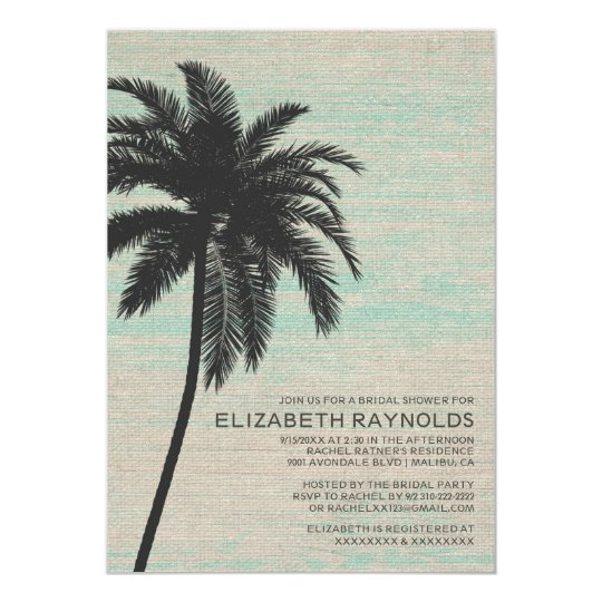 Elegant Palm Trees Burlap Bridal Shower Invitation