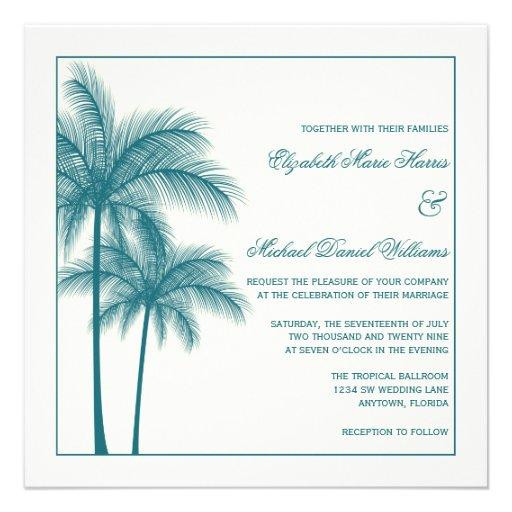 Elegant Palm Trees Teal Ecru Square Personalized Invite