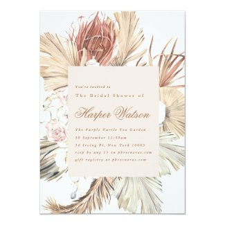 Elegant Pampas Tropical Romantic Bridal Shower Invitation