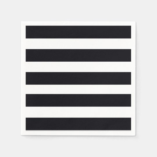 Elegant Paper Cocktail Napkins Black White Stripe Disposable