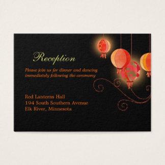 Elegant Paper Lanterns Wedding Reception Enclosure Business Card