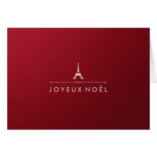 Elegant Paris Christmas Metallic Red and Silver Card