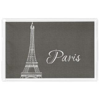 Elegant Paris Eiffel Tower Dark Gray Burlap Look Acrylic Tray