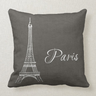 Elegant Paris Eiffel Tower Dark Gray Burlap Look Cushion