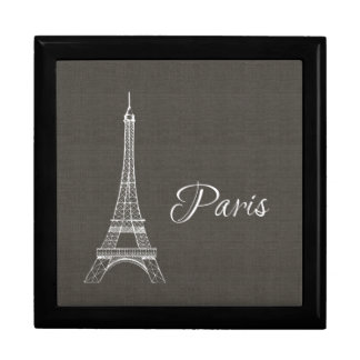 Elegant Paris Eiffel Tower Dark Gray Burlap Look Large Square Gift Box