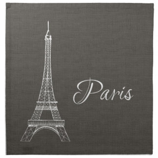Elegant Paris Eiffel Tower Dark Gray Burlap Look Napkin
