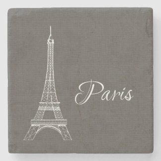 Elegant Paris Eiffel Tower Dark Gray Burlap Look Stone Coaster