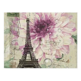 elegant paris eiffel tower floral vintage postcard