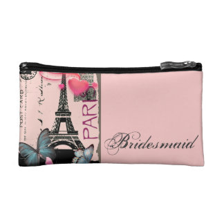 elegant paris eiffel tower vintage wedding makeup bag