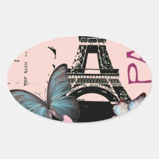 elegant paris eiffel tower vintage wedding oval stickers
