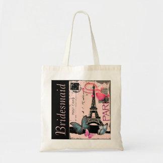 elegant paris eiffel tower vintage wedding tote bag