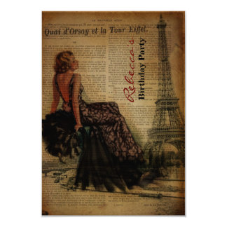 elegant paris french  vintage birthday party 9 cm x 13 cm invitation card