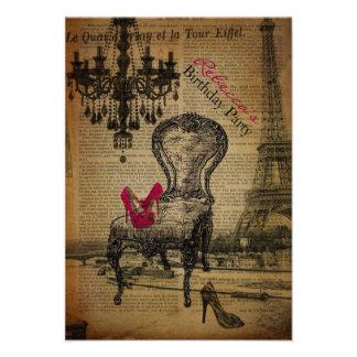 elegant paris french  vintage birthday party invitations