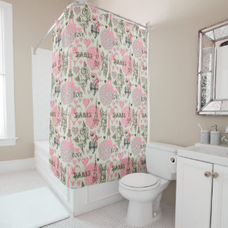 Elegant Paris pattern shower curtain home decor