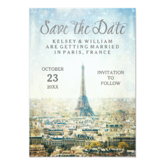 Elegant Paris View Eiffel Tower Save the Date Card