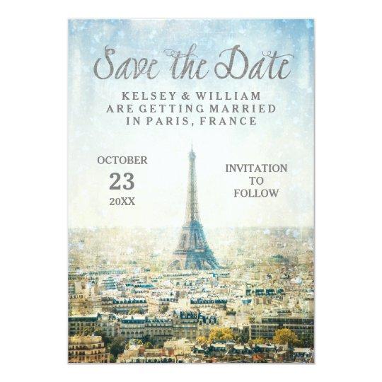 Elegant Paris View Eiffel Tower Save the Date