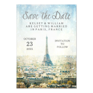 Elegant Paris View Eiffel Tower Save the Date Magnetic Card