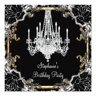 Elegant Party Black Silver Gold Crystal Chandelier 13 Cm X 13 Cm Square Invitation Card