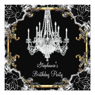 Elegant Party Black Silver Gold Crystal Chandelier Card