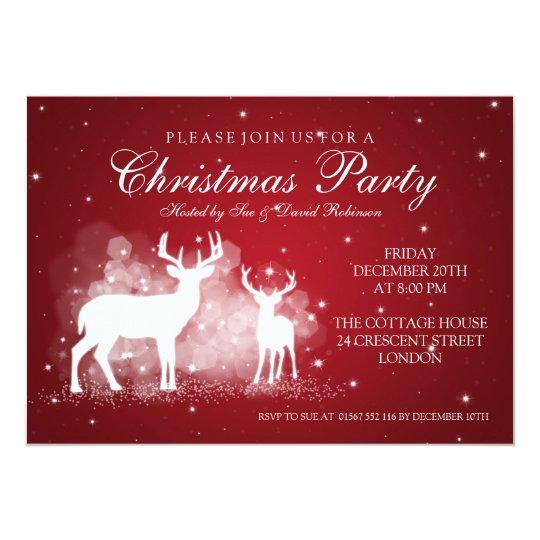 Elegant Party Deer Sparkle Red Card