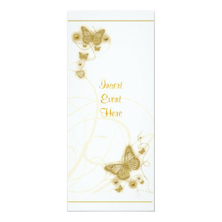 Elegant party gold butterfly floral white card