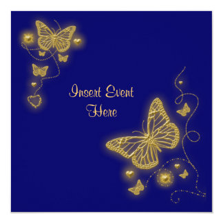 Elegant party gold butterfly heart blue royal card