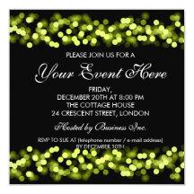 Elegant Party Invitation Green Hollywood Glam