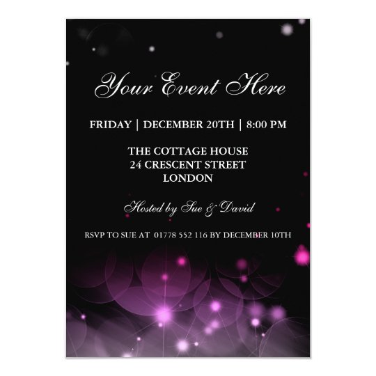 Elegant Party Invitation Sparkles Pink Black