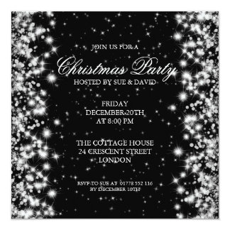 Elegant Party Sparkle Black 13 Cm X 13 Cm Square Invitation Card