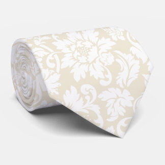 Elegant Pastel Beige And White Floral Damasks Tie