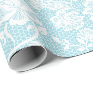 Elegant Pastel Blue and White Lace Wrapping Paper