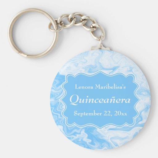 Elegant Pastel Blue Quinceanera Key Chains