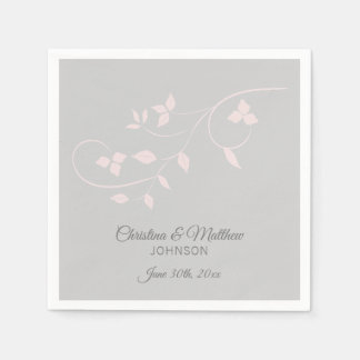 Elegant Pastel Blush Pink & Grey (Gray) Wedding Paper Napkin