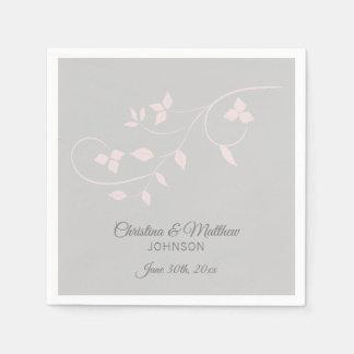 Elegant Pastel Blush Pink & Grey (Gray) Wedding Paper Serviettes