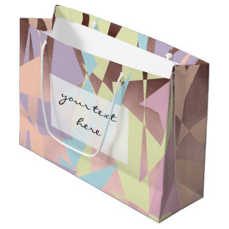 elegant pastel color block rose gold geometric large gift bag