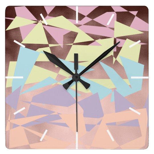 elegant pastel colour block rose gold geometric square