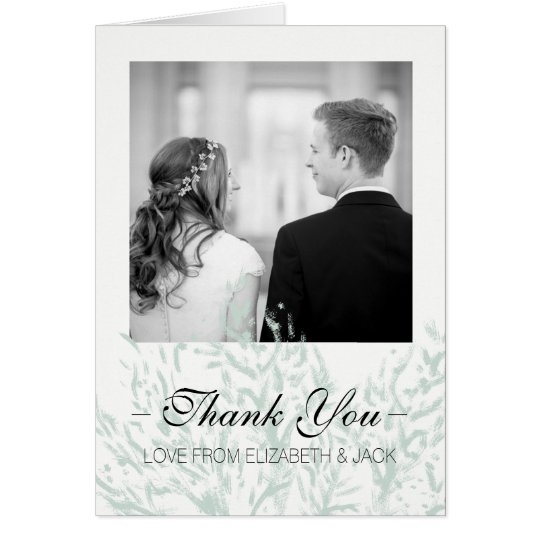 Elegant Pastel Green Wedding 'Thank You' Card