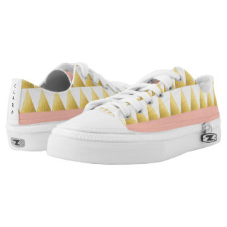 elegant pastel peach, faux gold triangles pattern low tops