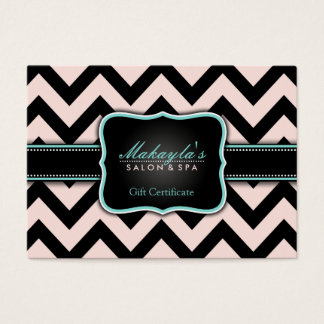 Pink salon and spa certificate gifts on zazzle uk elegant pastel pink and black chevron gift business card negle Choice Image