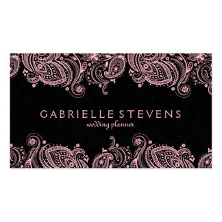 Elegant Pastel Pink And Black Paisley Lace Pack Of Standard Business Cards