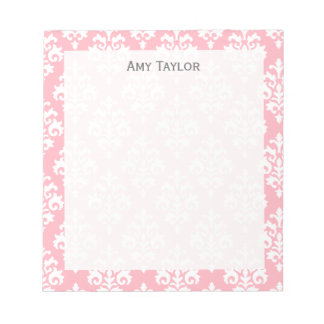 Elegant Pastel Pink Girly Damask Personalized Notepad